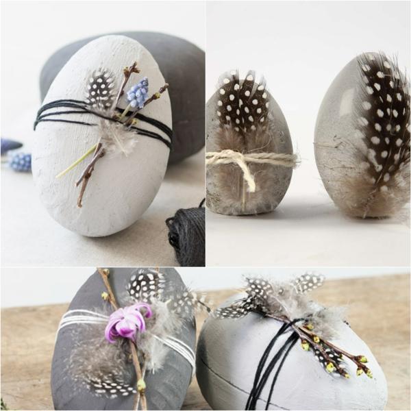 Comment faire des œufs de Pâques décoratifs en béton déco plumes