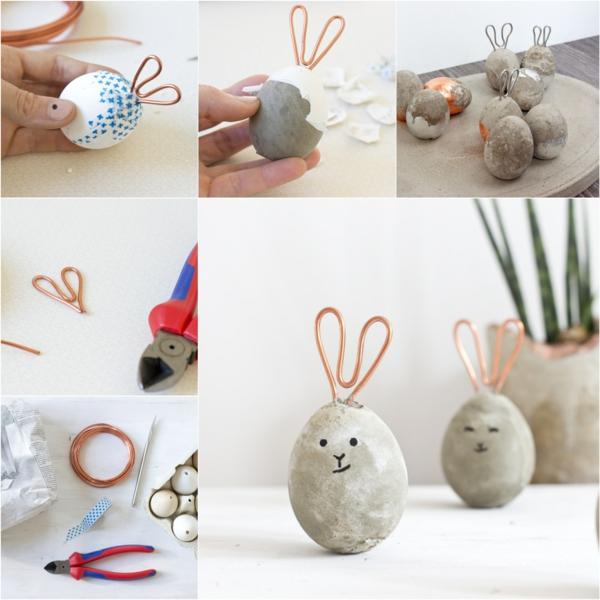 Comment faire des œufs de Pâques décoratifs en béton diy lapins