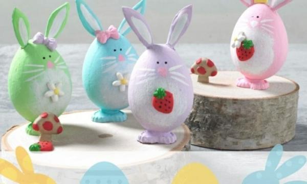 Comment faire des œufs de Pâques décoratifs en béton lapins colorés