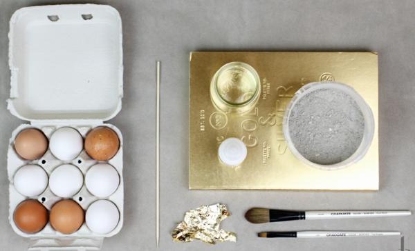 Comment faire des œufs de Pâques décoratifs en béton oeufs dorés étape 1