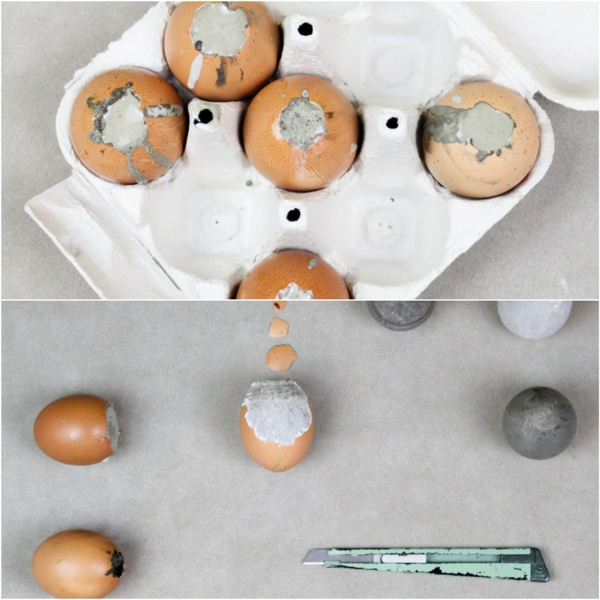 Comment faire des œufs de Pâques décoratifs en béton oeufs dorés étape 3