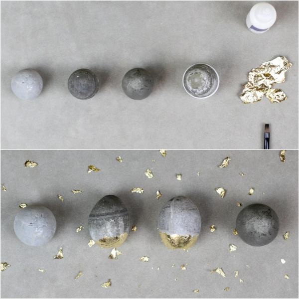 Comment faire des œufs de Pâques décoratifs en béton oeufs dorés étape 4