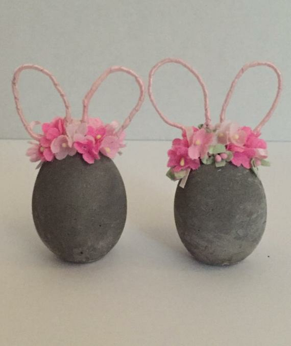 Comment faire des œufs de Pâques décoratifs en béton oeufs lapins