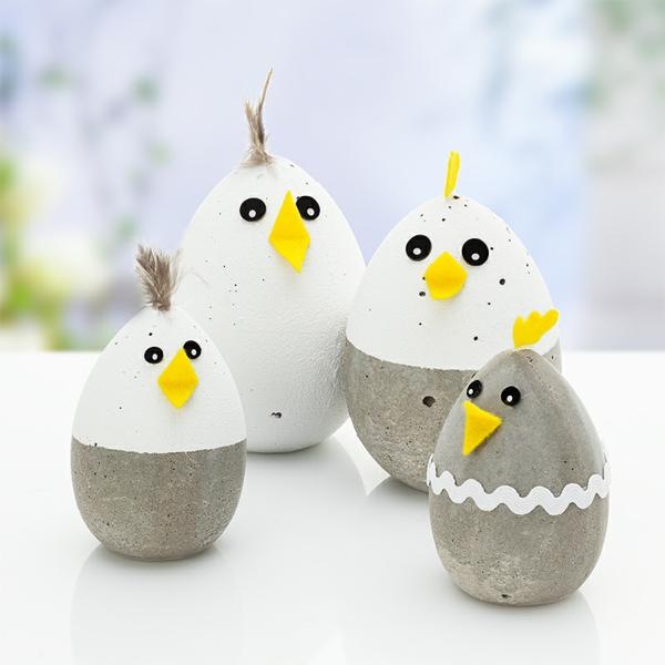 Comment faire des œufs de Pâques décoratifs en béton poussins