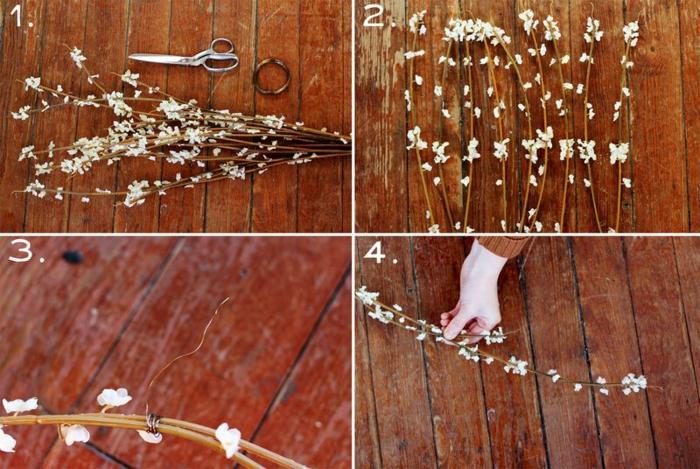 DIY diadème mariage avec des branches fleuries instructions