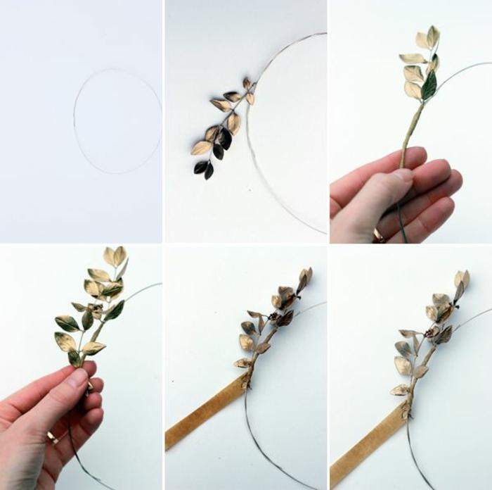 DIY diadème mariage avec des feuilles dorées instructions
