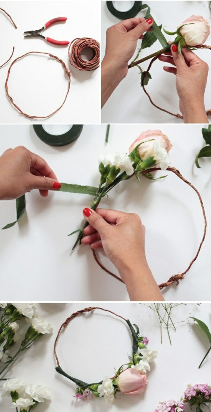 DIY diadème mariage avec des fleurs artificiellesruban