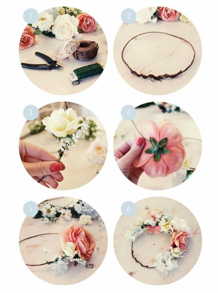 DIY diadème mariage avec des fleurs artificielles