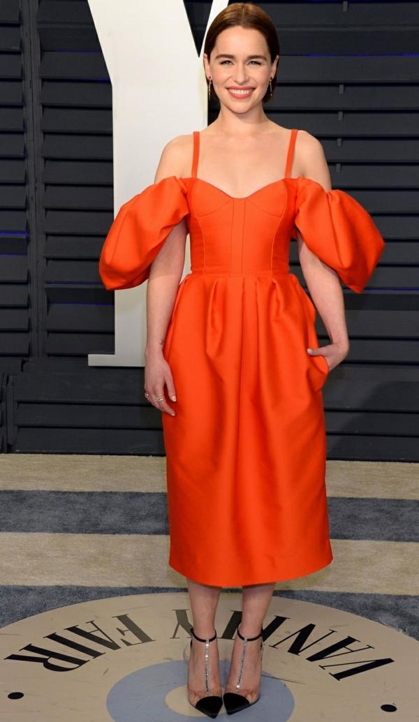 Emilia Clarke à la soirée Vanity Fair Oscar Party à Los Angeles, le 24 février 2019