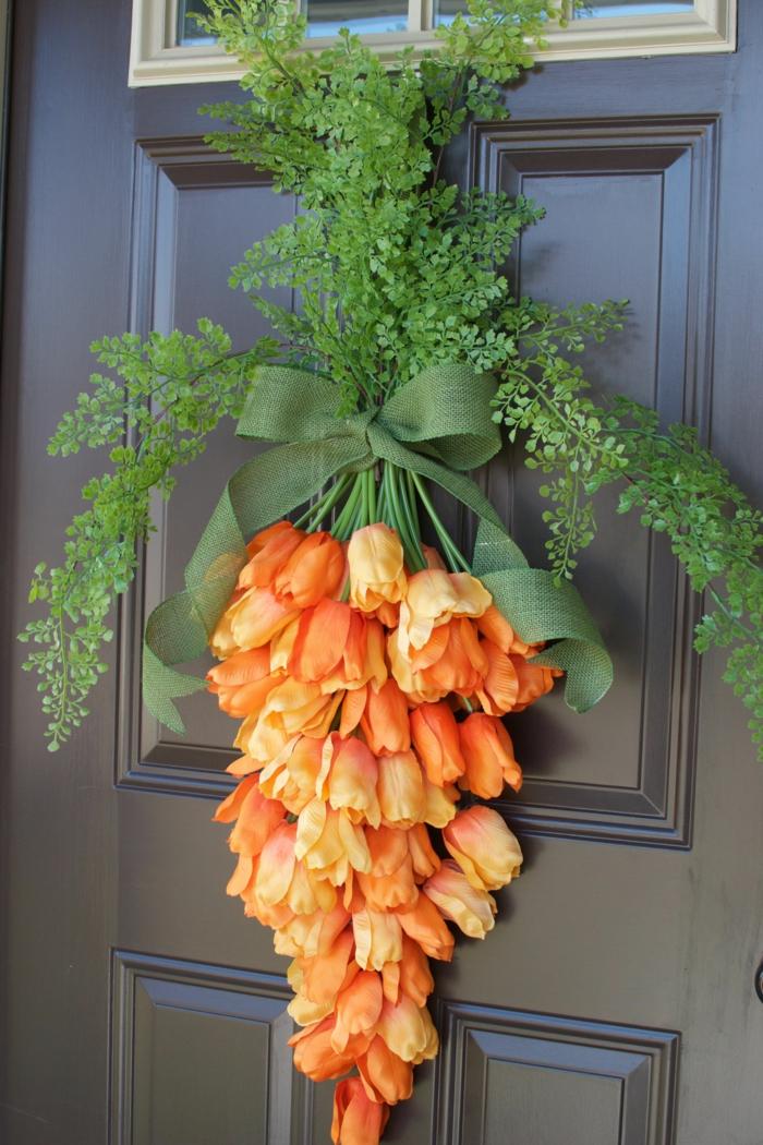 activité manuelle printemps déco porte imitation carotte