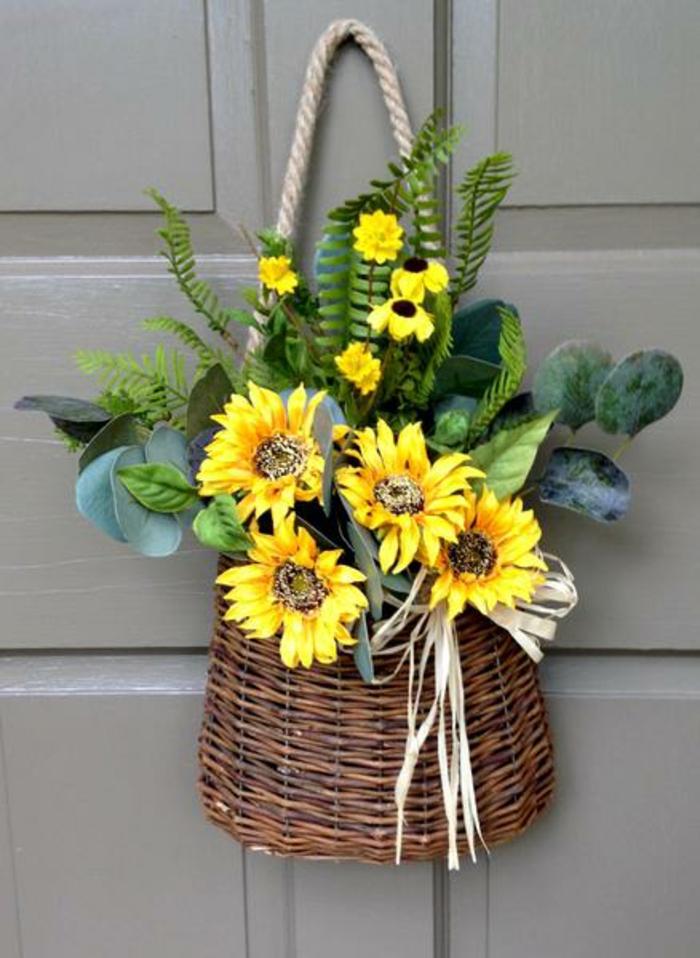 activité manuelle printemps panier avec des fleurs