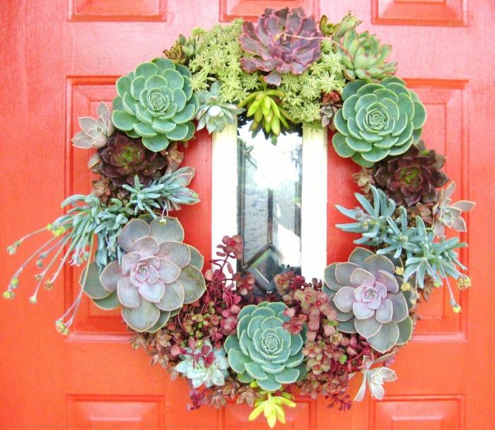 activité manuelle printemps pour la porte d'entrée avec des succulentes