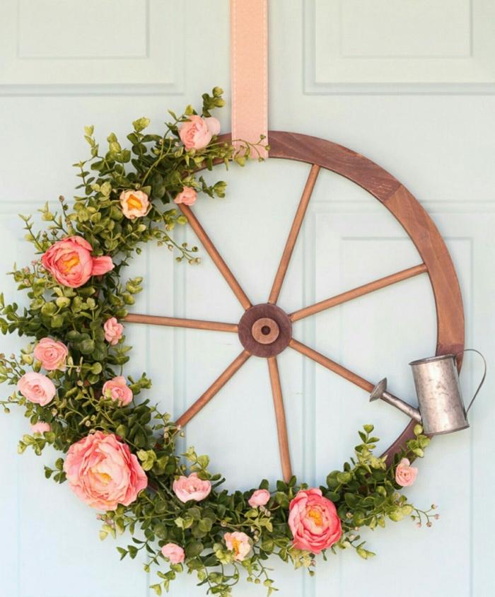 activité manuelle printemps pour la porte d'entrée couronne diy