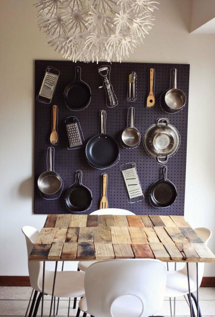 aménagement pratique dans la cuisine avec pegboard