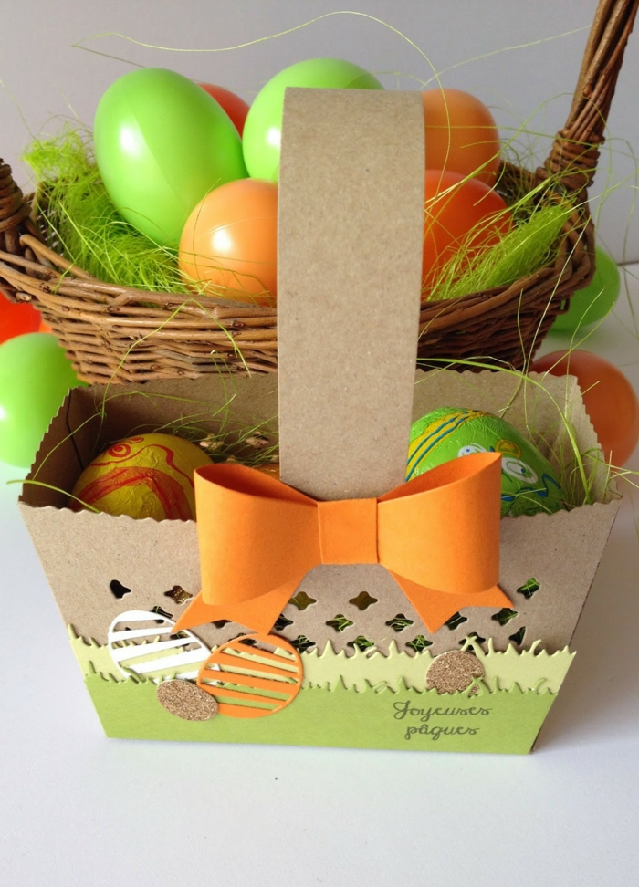 carton pour fabriquer un panier de Pâques diy