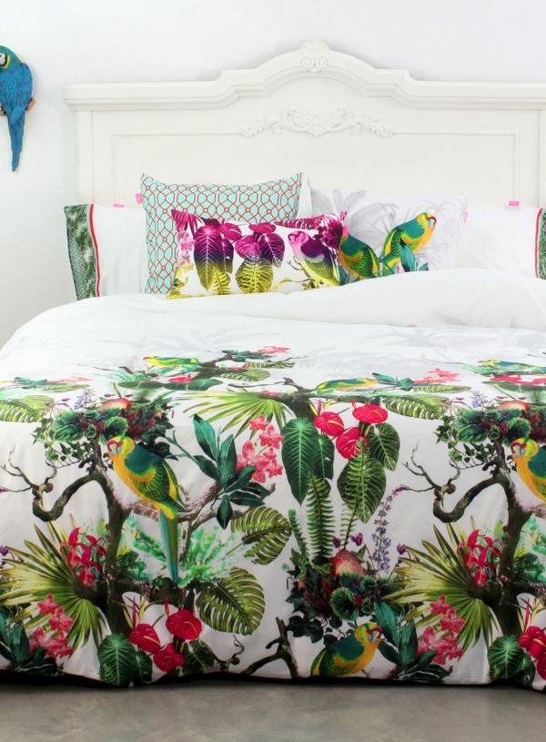 chambre blanche linge de lit déco jungle