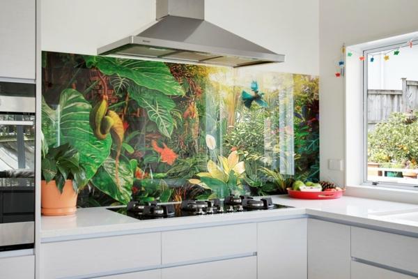 cuisine crédence motifs tropicaux déco jungle