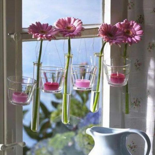 déco fenêtre pour pâques bougeoir avec fleur