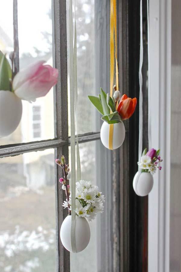 déco fenêtre pour pâques bricolage coquilles fleurs