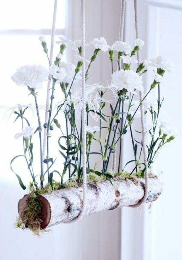 déco fenêtre pour pâques corde branche fleurs