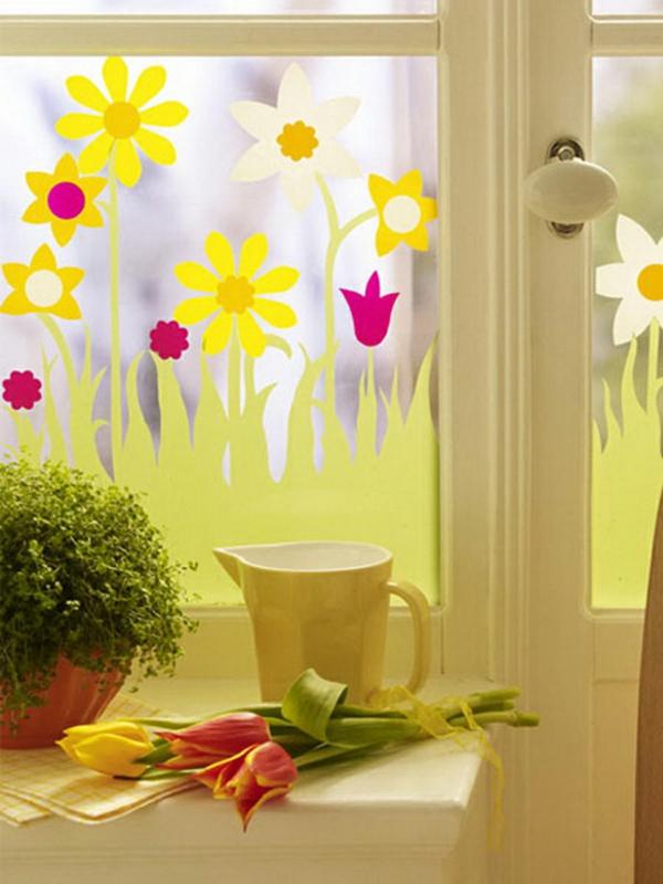 déco fenêtre pour pâques diy papier coloré