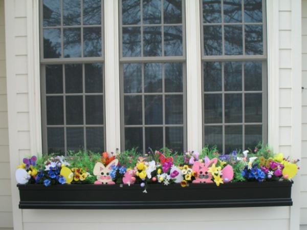déco fenêtre pour pâques jardinières de pâques extérieur