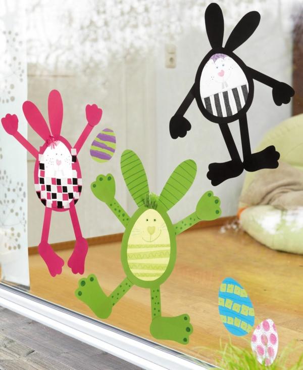 déco fenêtre pour pâques lapin de pâques à découper en papier coloré