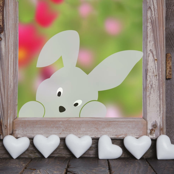 déco fenêtre pour pâques lapin de pâques en carton