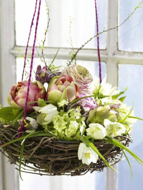 déco fenêtre pour pâques nid en branchage fleurs