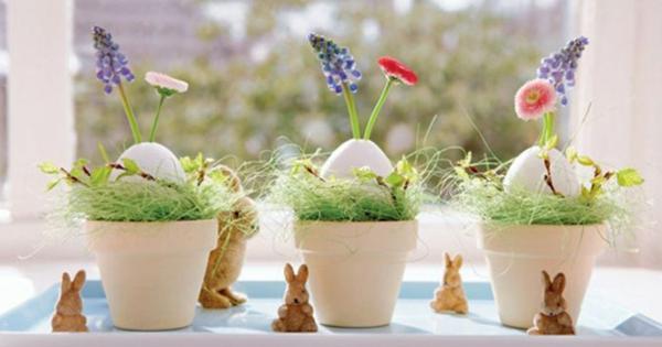 déco fenêtre pour pâques pots de fleurs