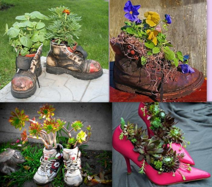 déco jardin récup idée avec des chaussures