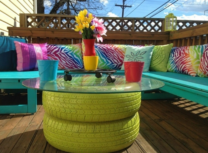 déco jardin récup table basse pneu