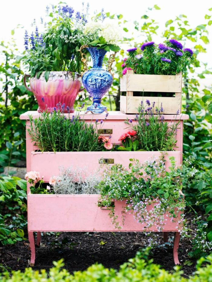 déco jardin récup vieux meuble