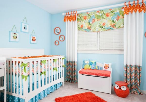 déco jungle chambre de bébé bleue
