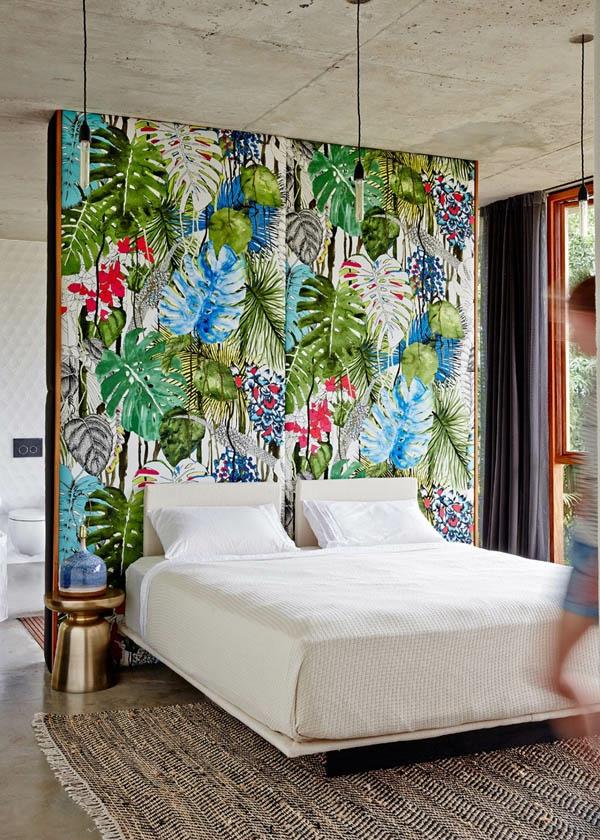 déco jungle chambre séparateur de pièce papier peint