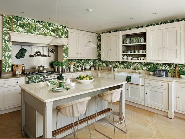 déco jungle papier peint cuisine traditionnelle
