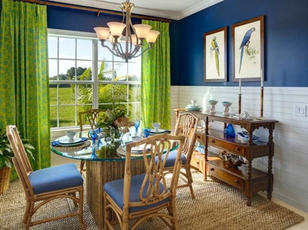 déco jungle salle à manger en vert et bleu