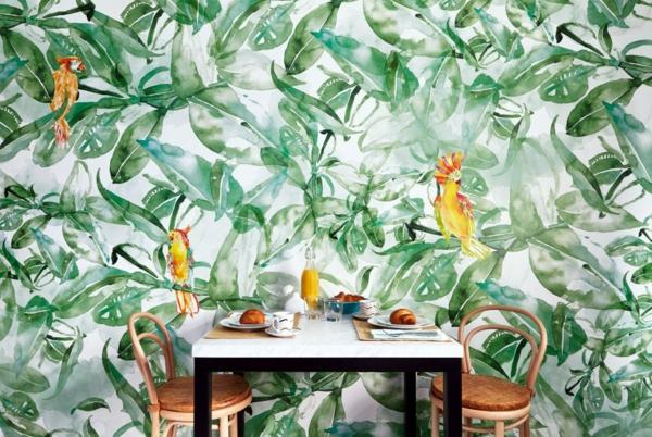 déco jungle salle à manger papier peint tropical