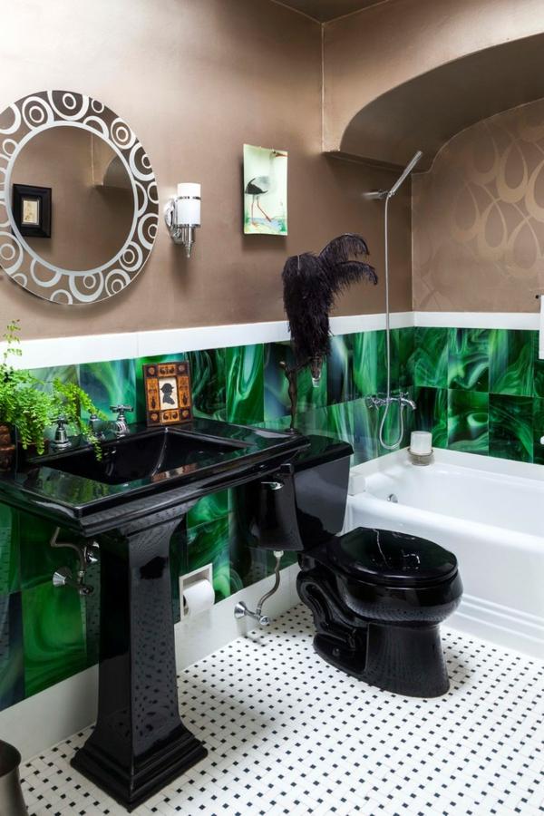 déco jungle salle de bain avec baignoire