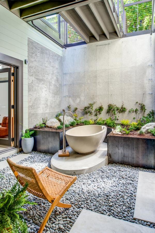 déco jungle salle de bain matériaux narurels