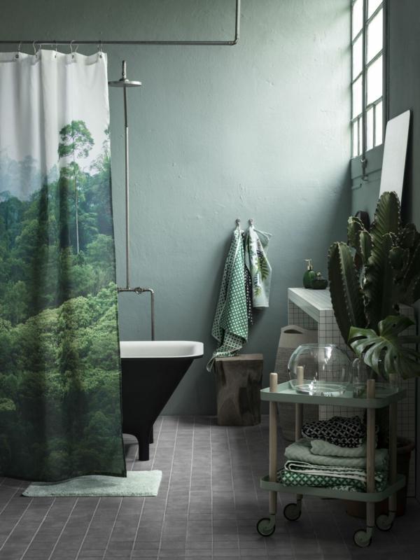 déco jungle salle de bain vert menthe