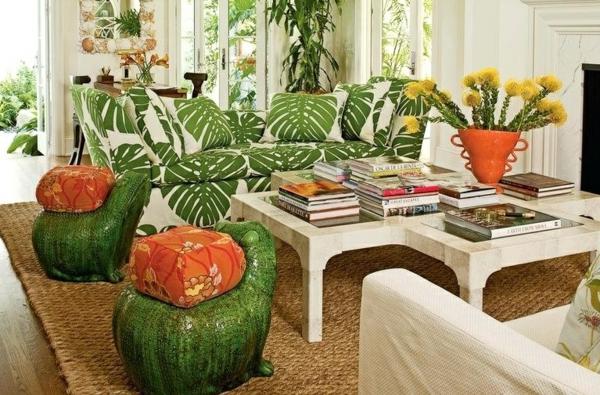déco jungle salon blanc canapé textile à motifs végétaux