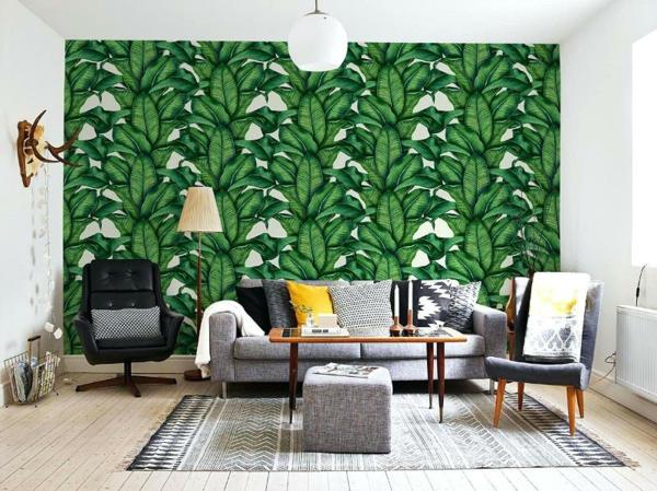 déco jungle salon mur d'accent papier peint