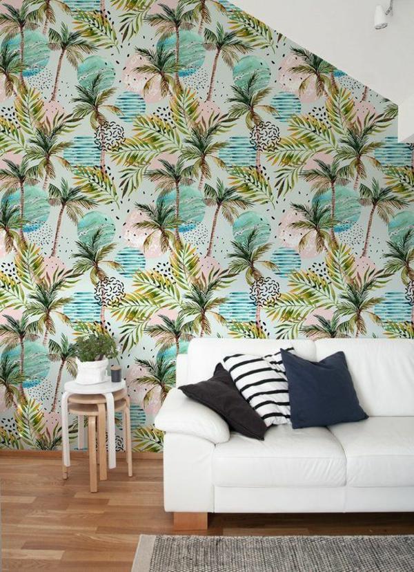 déco jungle salon papier peint à motifs palmiers