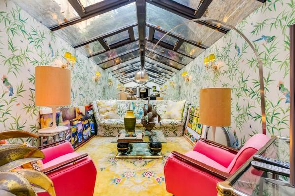 déco jungle salon textile floral