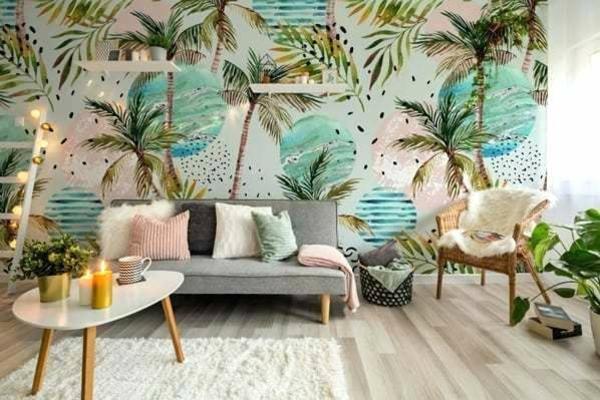 déco jungle tropical salon moderne