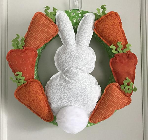 diy couronne lapin de pâques tissu