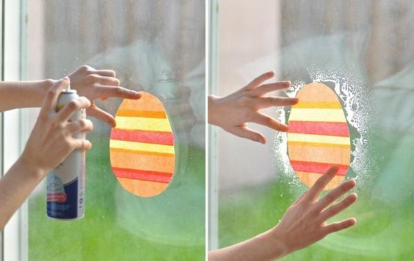 diy déco fenêtre pour pâques oeuf en papier à coller