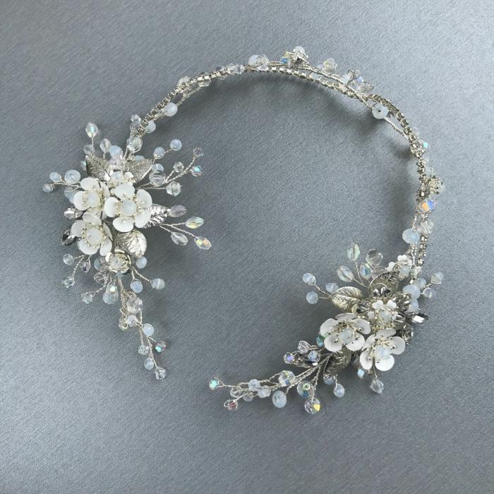 diy diadème mariage chaîne argentée fil métallique fleurs décoratives perles