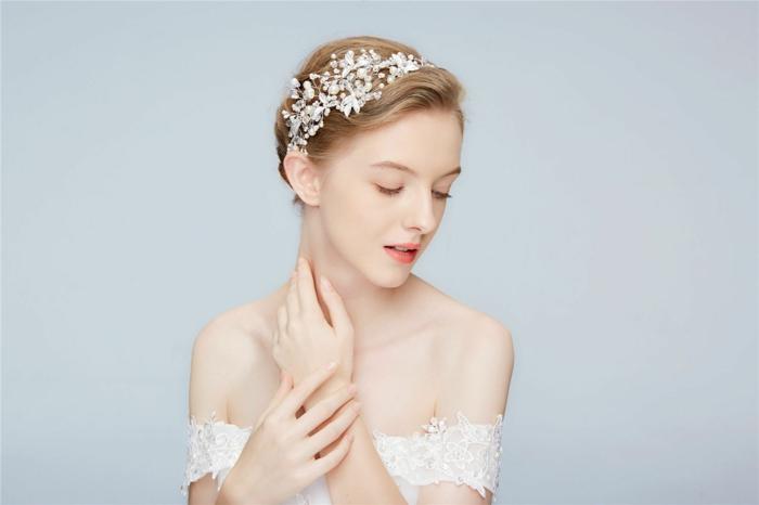 diy diadème mariage fil argenté perles